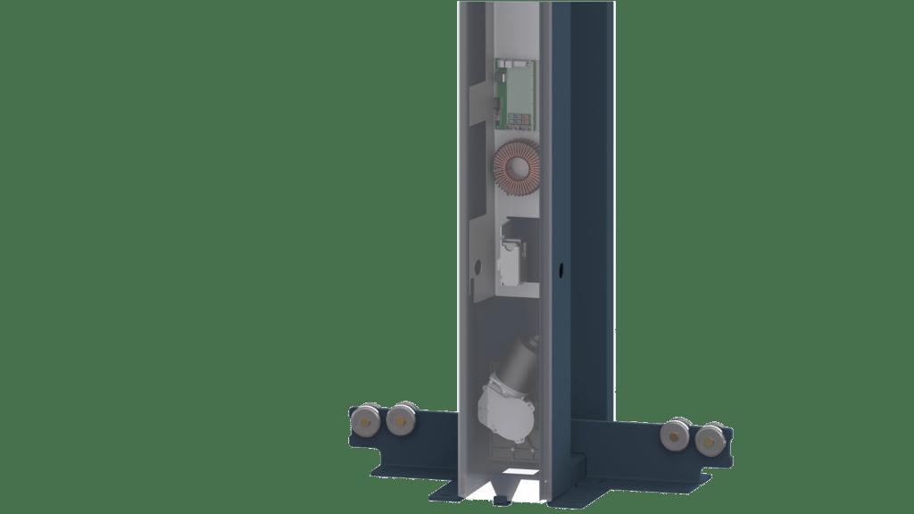 Automatisme intégré aux colonnes portail Portaleco coulissant autoportant