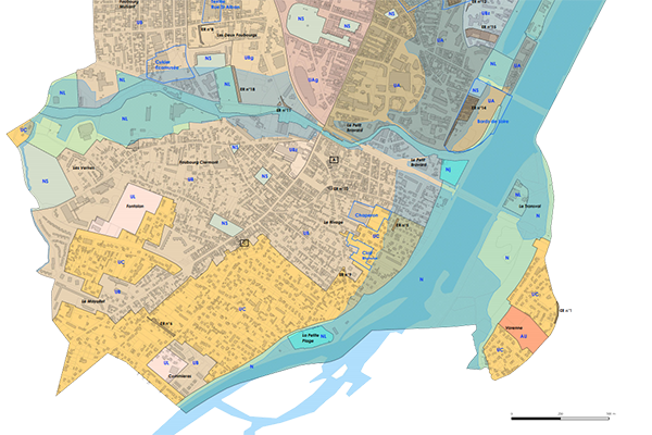 extrait sud du plan local d'urbanisme de Roanne
