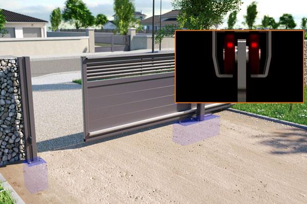 Fonctionnement portail coulissant autoportant avec rail creux